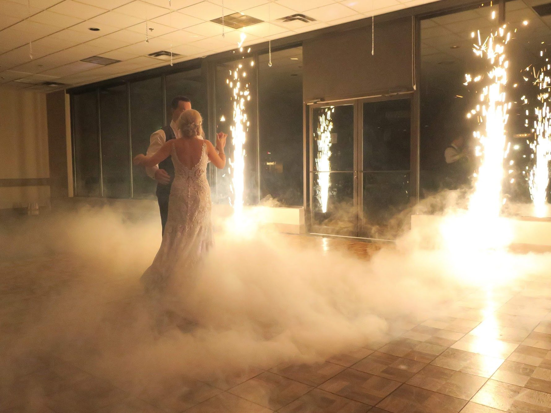 first dance at wedding with sparklers